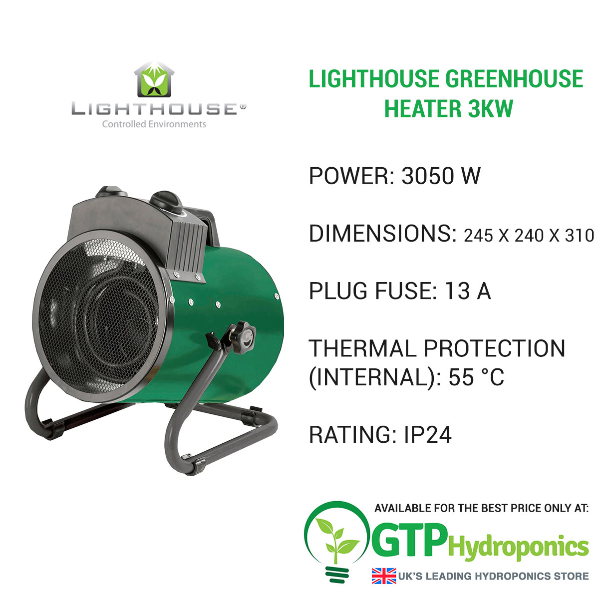 Lighthouse Greenhouse Heater 3kw overview