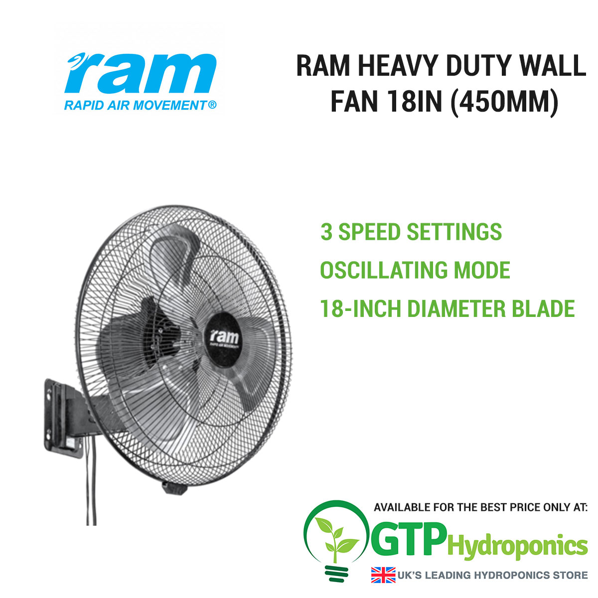 RAM Heavy Duty Wall Fan 18in (450mm) overview